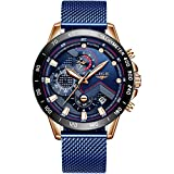 LIGE - Reloj de pulsera analógico de cuarzo de acero inoxidable para hombre, impermeable, con fecha, vestido de negocios, correa de malla, Empresarial, Azul, 8.07