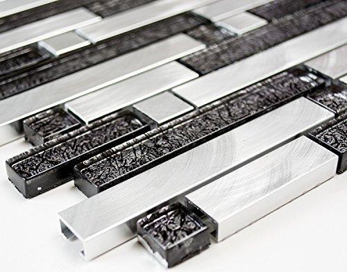 Mosaico a specchio piastrelle a mosaico piastrelle interconnessione Alu/Crystal Mix Nero/Argento Alluminio Metallo Mix di rete da parete cucina bagno WC