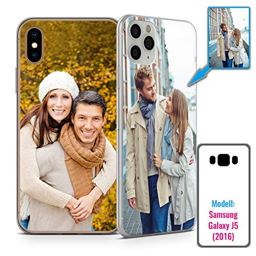 PixiPrints Foto-Handyhülle mit eigenem Bild kompatibel mit Samsung Galaxy J5 (2016), Hülle: dünnes Slim-Silikon in Transparent, personalisiertes Premium-Case selbst gestalten mit flexiblem Druck
