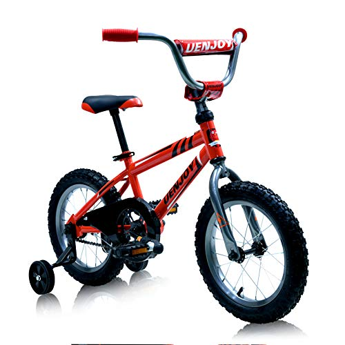 Uenjoy Kids Bike for 5+ Years Old Boys & Girls with Detachable Training Wheels 14 inch Wheels and Seat Height Adjustable, Red