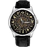Zodiac Circle Astrología Sun Signs Classic 40 mm Unisex Cromado Latón Reloj de pulsera