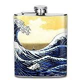 ブルームン 酒器 酒瓶 お酒 フラスコ 青い波 ボトル 携帯用 フラゴン ワインポット 7oz 200ml ステンレス製 メンズ U型
