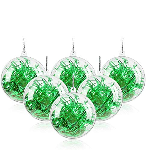 Mbuynow 20pcs 5cm Christmas Ball Clear Transparent Balls Ornaments DIY Fillable Craft Plastic Xmas Ball Baubles