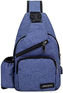 YXHM AU Men's Chest Bag Fashion Oxford Shoulder Bag Multi-Function Can Be Loaded with Water Bottle Messenger Bag Casual Wild Small Bag (Color : Blue)