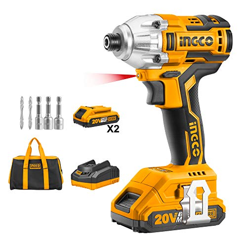 INGCO 20V Brushless Lithium-Ion Impact Driver with 2 PCS 2.0Ah Battery Pack, 1pc 1Hr Charger, 1/4 Inch, 170NM CIRLI20023