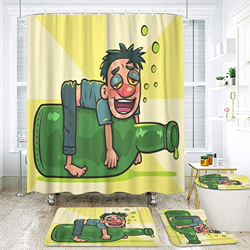 KGSPK Shower Curtain Sets Non-Slip Rug,Cartoon Drunk Man on Liquor Bottle Hangover Alcohol,Waterproof Bathroom Decorations Bath Curtains 12 Hooks Included