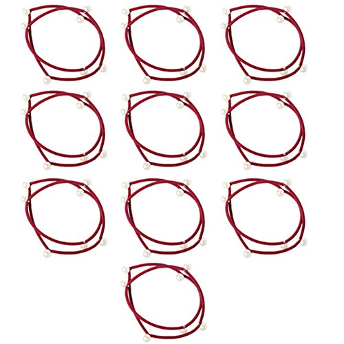 Westeng10pcs Femme Bande Cheveux Elastique Hair band Double avec Perle Bowknot Bande Elastique Accessoire de Coiffeur rouge