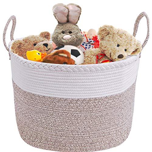 Großer Wäschekorb, 50x 33 CM Spielzeug Ablagekorb Dekorative Aufbewahrungskorb Baumwollseil Seil Korb mit Griff Kinder Wäschekorb für Badezimmer Wohnzimmer Kindergarten