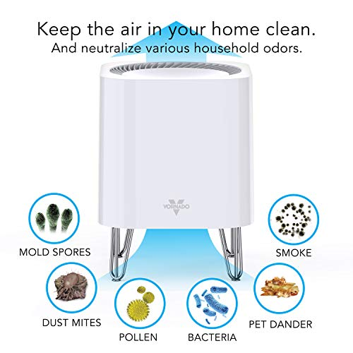 Vornado QUBE50 Air Purifier for Home, Bedroom and Office-True HEPA Filter to Remove [99.97% of Allergens], Eliminates Pet, Smoke, Dander-3-Step Filtration Process, Small, White
