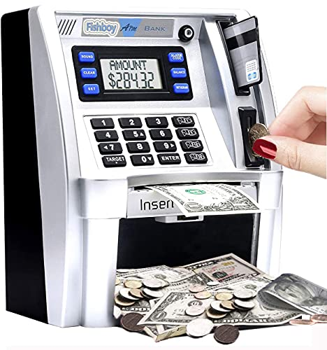 2021 Upgraded-ATM Savings Piggy Bank Machine for Real Money for Kids with Debit Card, Bill Feeder, Coin Recognition, Balance Calculator, Digital Electronic Safe Box