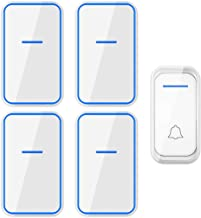 Draadloze deurbel Draadloze deurbel waterdichte draadloze deurbel Kit 1 drukknop zender en 4 Plug-in ontvangers, 1200m Ran...