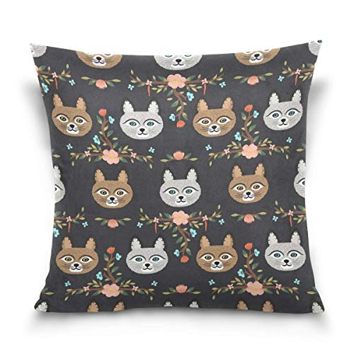 lucies Throw Pillow Case Decorative Cushion Cover Square Pillowcase, Vintage Floral Print Cat Kitten Sofa Bed Pillow Case Cover(18x18inch) Twin Sides