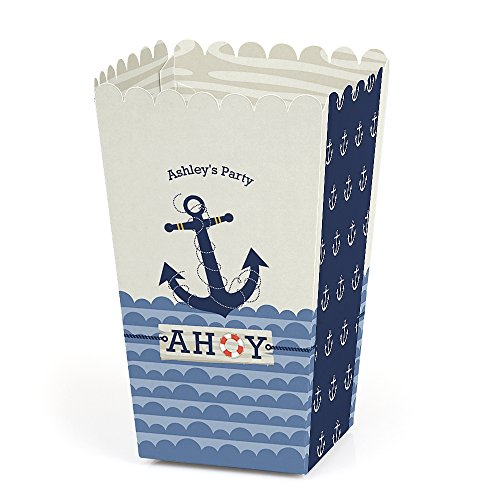 Big Dot of Happiness Personalized Ahoy - Nautical - Custom Baby Shower or Birthday Party Favor Popcorn Treat Boxes - Custom Text - Set of 12