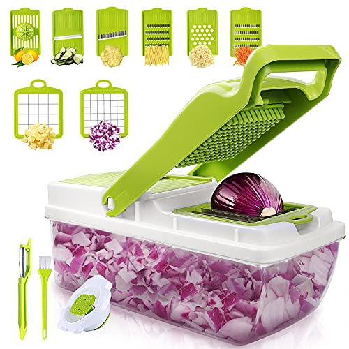 Veggie Chopper Vegetable Chopper, 12 In 1 Multifunctional Food Dicer Onion Cutter, Mandoline Slicer with Container, 6 Interchangeable Stainless Steel Blades, Citrus Reamer, Peeler, Brush