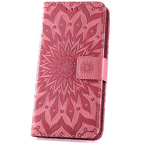 Surakey kompatibel mit Sony Xperia XZ3 Hülle Leder Flip Hülle Wallet Tasche Handyhülle Mandala Blumen Muster Flip Cover Brieftasche Etui Schutzhülle Handytasche Ständer für Sony Xperia XZ3,Rosa