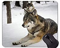 ロックエッジ付きマウスパッド、オオカミオオカミ雪狼風景マウスパッド
