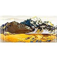 大きいサイズの黄金の山の風景抽象的なキャンバスの絵画印刷ポスターリビングルームの油絵現代の家19.7x39.4in(50x100cm)x1pcs