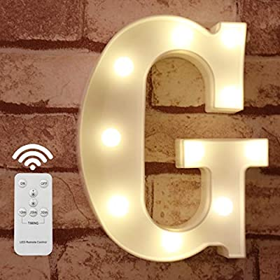 Pooqla LED Marquee Letter Lights Alphabet Light Up Sign with Wireless Timer Remote Control Dimmable for Wedding Home Party Bar Decoration - RC - G