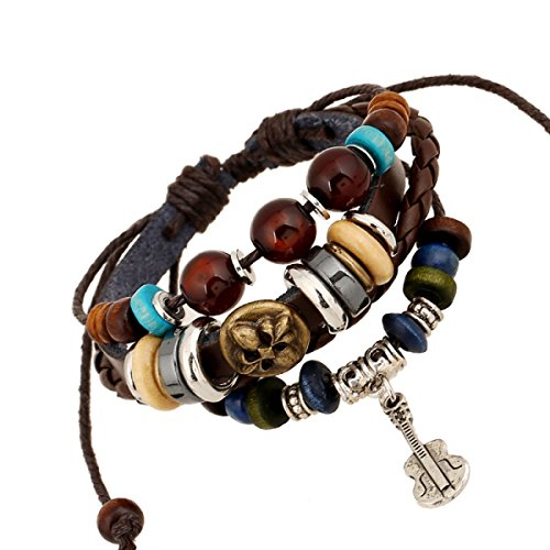 Il Braccialetto di Cuoio LZHMCircle Wristband per Unisex Braccialetti di Cuoio Reali Multi Fili Braccialetti Registrabili Tribale Corda Intrecciata in Rilievo Pendente Chitarra