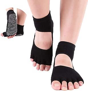 ThreeH Yoga Socks Non-slips Five-fingers for Women Yoga Pilates Dance Ballet Open Feet Back 2 Pairs Size4.5-7