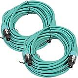 Seismic Audio TW12S50Green-Pair Pair of 12 Gauge 50-Feet Green Speakon to Speakon Speaker Cable