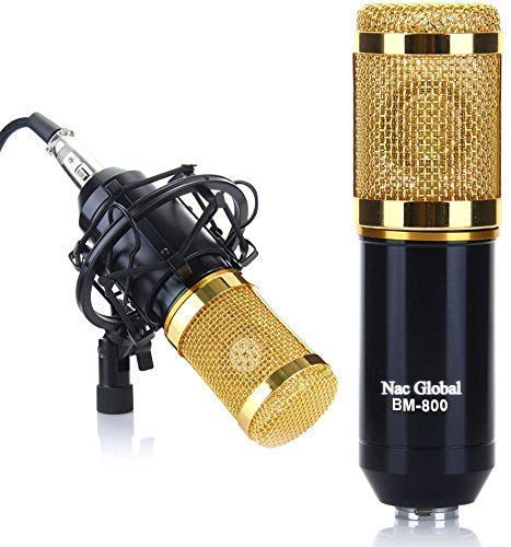 Nac Global™ Condenser Microphone with Shock Mount & BM 800 Professional Condenser Dynamic Microphone Set for Studio Recording Radio Broadcasting with 3.5 mm Audio Cable Foam PC Computer Studio Recording Professional Condenser Dynamic Microphone Set BM 800 Professional Condenser Dynamic Microphone Set for Studio Recording