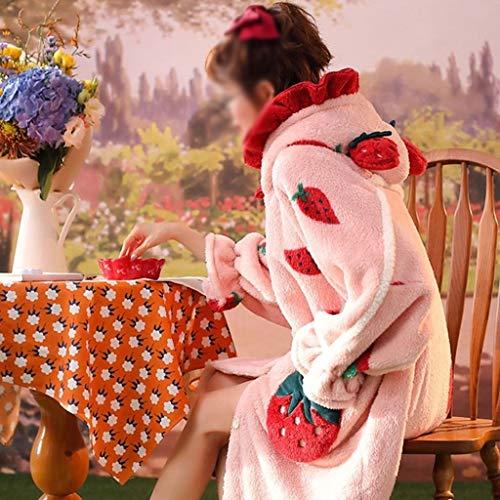 JYDQM Camisón Mujeres Invierno Largo Grueso Coral Terciopelo Albornoz Pijamas Pijamas Suelto Niña con Capucha Ropa de Dormir de Dibujos Animados Lindo (Color : B, Size : Medium)
