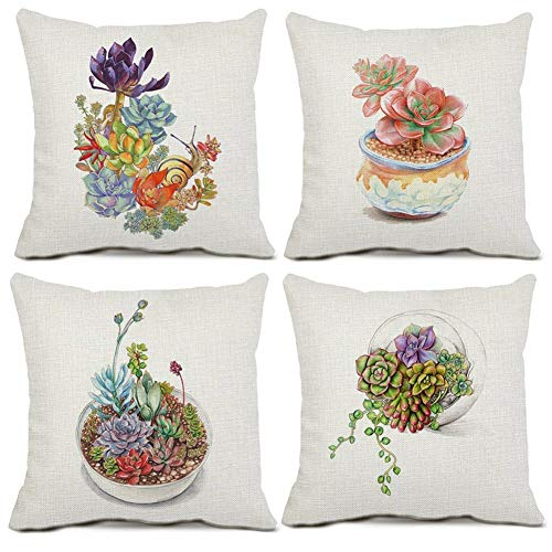 Gspirit 4 Pack Plantas suculentas Algodón Lino Decorativo Throw Pillow Case Funda de Almohada para Cojín 45x45 cm