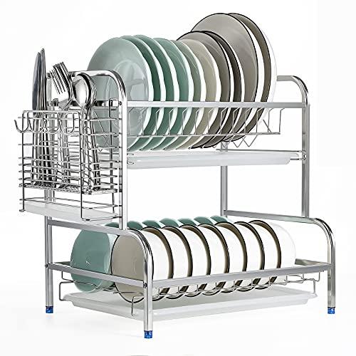 Abtropfgestell Geschirr Edelstahl - Geschirrabtropfgestell über spüle - 2 Ebenen Spülbeckenregal - Geschirrständer - Abtropfständer -,Dish Drying Rack für Gericht Schüssel Schneidbrett (Silber)