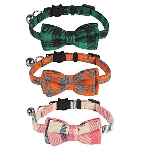 SLSON 3 Stück Katzenhalsbänder mit Glocke und Fliege mit Sicherheitsschnalle,Verstellbare Halsbänder von 20 cm bis 28 cm für Kätzchen und Katzen, Anti-Strangulationshalsband, Grün, Orange, Pink