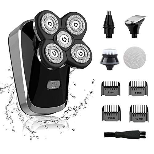 RBNANA Elektrorasierer für Männer, 5 in 1 Elektrischer Kopfrasierer, USB Wiederaufladbare Rotationsrasierer, Männer Kopfrasierer Pflegeset mit Nasenhaarschneider