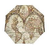 OuLian Umbrella Vintage Map Wallpapers - Cave Golf Travel Sun Rain Windproof Auto