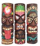 Interlifestyle 3 Tiki Máscaras 50cm en el Maui Hawai Buscar Estilo 3er Juego Máscaras de Madera Máscara de Pared Isla de Pascua
