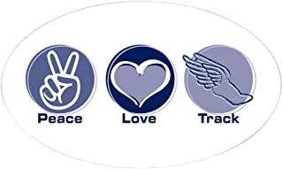 CafePress Peace Love Track Oval Sticker Oval Bumper Sticker, Euro Oval Car Decal