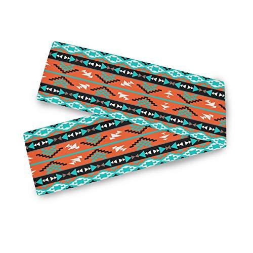 TropicalLife Camino de mesa rectangular F17, diseño geométrico tribal étnico azteca de 33 x 177 cm, poliéster, decoración para bodas, cocinas, fiestas, banquetes, comedores, mesas de café