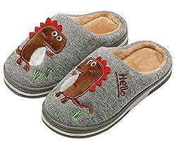 3. INMINPIN Kid's Cozy Plush Dinosaur House Slippers
