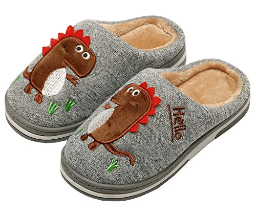 INMINPIN Inverno Pantofole da Casa Bambini Caldo Peluche Pantofola da Invernali Carino Dinosauro Comode Ciabatte Interne di Cotone per Ragazze Ragazzi,Grigio,37/38 EU = Fabbricante 38/39