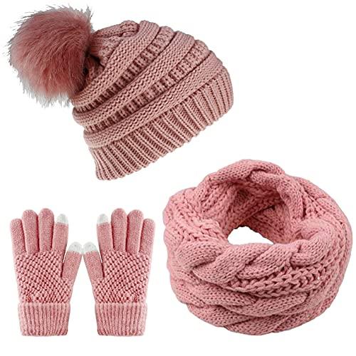 CheChury Damen-Wintermütze, Schal und Handschuhe, weich, warm, dick, gestrickt, mit Bommel, Touchscreen-Handschuhe, Loop-Schal, 3-teiliges Set, rose, Einheitsgröße