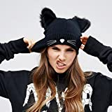 Autone Strickmütze mit Katzenohren für Damen, warmer Winter-Beanie aus Acryl