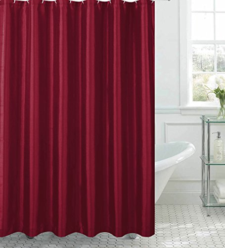 Creative Home Ideas Jane Faux Silk Shower Curtain with 12 Metal Rings, Burgundy