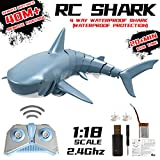 [2020 Upgraded]Velocity RC Boat,Newest Simulation Remote Control Shark Boat for Lakes,Swim in Water,High Speed 2.4G 4ChannelRC Boats,Kids Adults Pool Toys,Blue (Shark Boat)