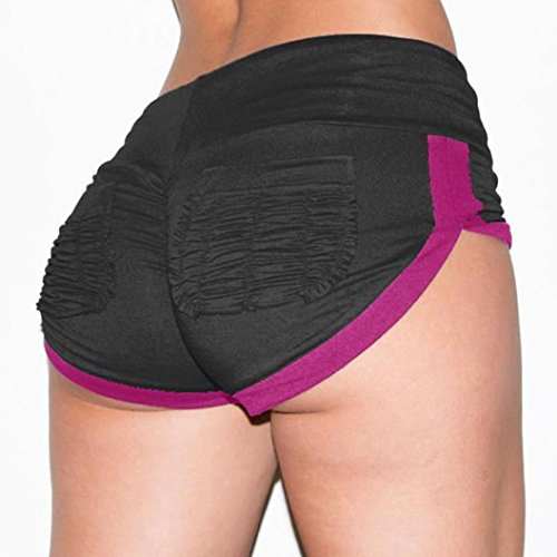 Longra Pantalones cortos deportivos de bolsillo para entrenamiento de la gimnasia de la pretina de los pantalones cortos flaco Yoga M Negro