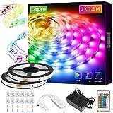 Lepro LED Strip 15M(2x7.5M), LED Streifen Musik Lichterkette mit Fernbedienung, Band Lichter, RGB Dimmbar Lichtleiste Light, Lichtband Leiste, Bunt Kette für Party Weihnachten Deko