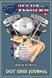 Shovelhead American Motorcycle Dot Grid Journal: Blue Cover, Old School Harley Davidson USA Flag Pinup Bikini Model VTwin Rockabilly Biker Chopper Gear.   155 Page  Dot Grid Journal