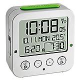 TFA Dostmann 60.2528.54 Bingo Funk-Wecker, autom. Hintergrundbeleuchtung, Datum, Temperaturanzeige und zwei Weckzeiten, Silber-grün
