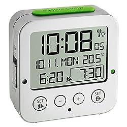 TFA Dostmann Bingo Funk-wecker Digital Alarm Clock with Radio-Controlled Time, Plastic, Silver