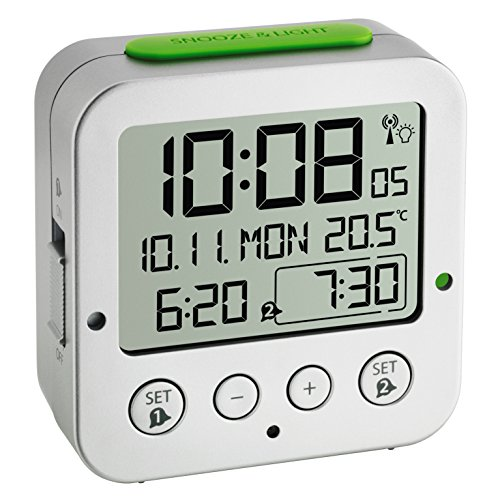 TFA Dostmann Bingo Funk-wecker Digital Alarm Clock with Radio-Controlled Time, Plastic, Silver