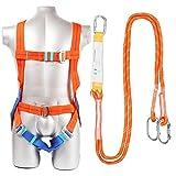 YCHBOS Kit Anticaduta Imbracatura Cintura di Sicurezza, Imbracatura Anticaduta Comfort Professionale, Set di Protezione Anticaduta Climbing Cintura Protezioni Anticaduta Dispositivi1.8m-Orange A