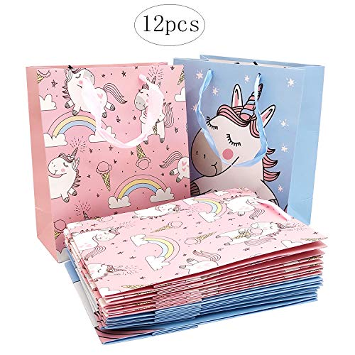 Bolsas de fiesta de unicornio Bolsas de regalo de papel Bolsas de cumpleaños para niños Cajas de palomitas de maíz Contenedores de dulces Favores de fiesta de unicornio (12 piezas)