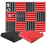 Arrowzoom 12 Paneles acustico absorcion sonido Cuna Wedge 25x25x5cm Espuma acustica aislamiento acustico estudio de grabacion Casas Estudios Azulejos Incombustibles Insonorizados Negro Rojo